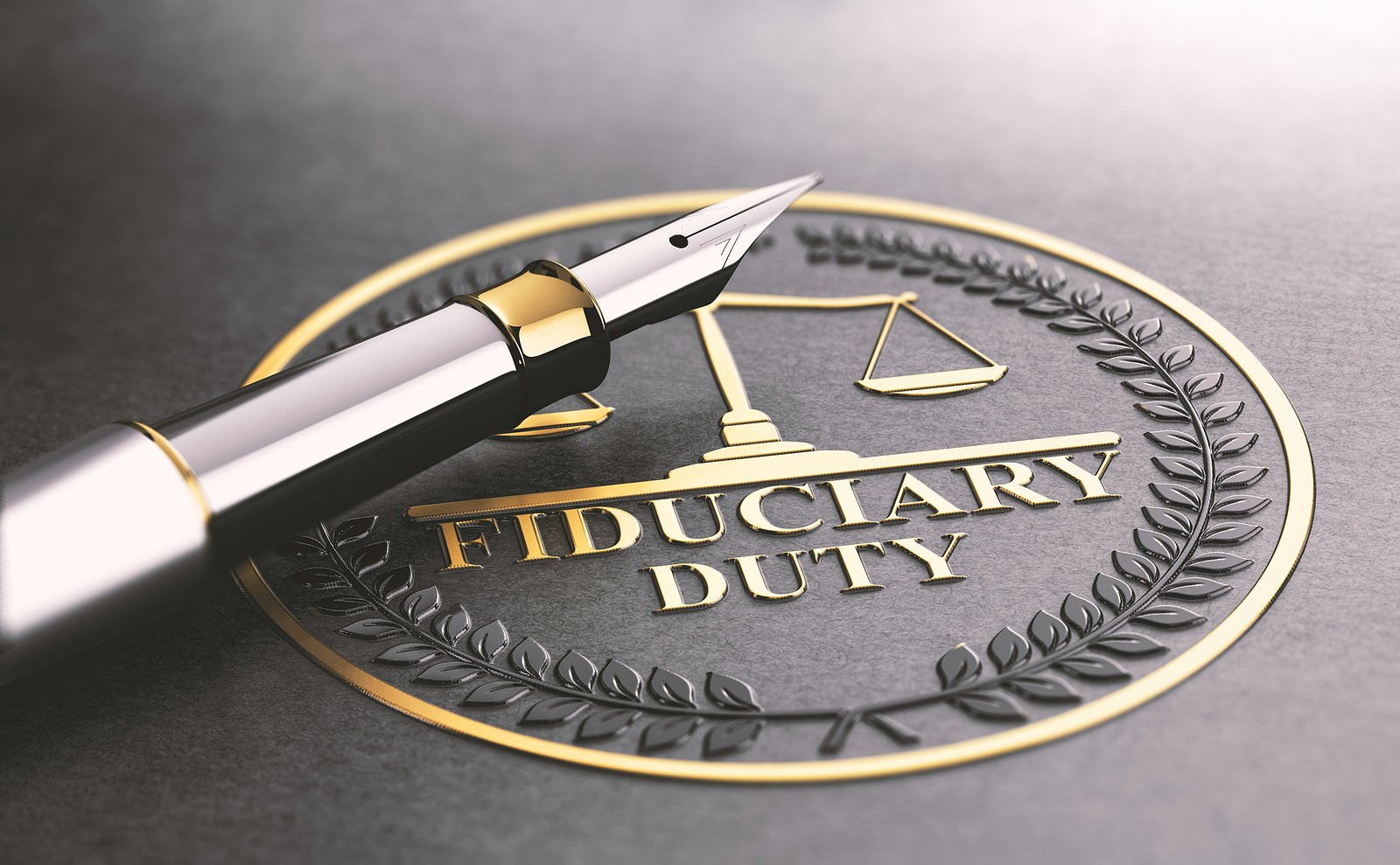 "3D illustration of a pen resting over a seal that contains balanced scales and the words ""fiduciary duty."""